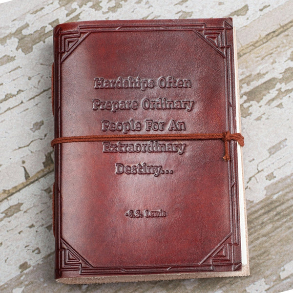 """Hardships Extraordinary Journey "" Handmade Leather Journal"