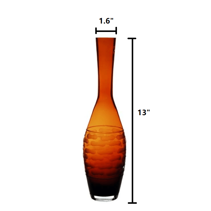 "Amber Glass Teardrop Style 6 Vase H-13"" - Pack of 6 PCS"