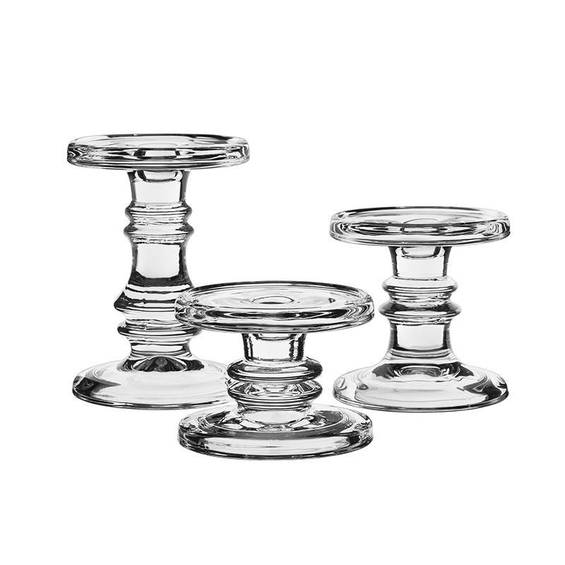 "Clear Glass Pillar Candle Holder O-4.5"" Set of 3 Height - Pack of 4 SETS"