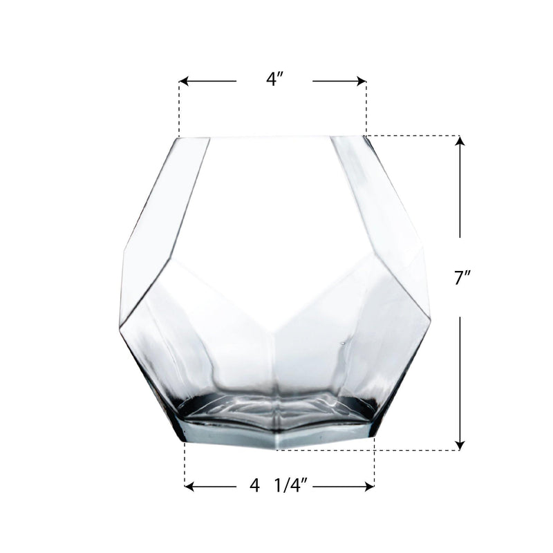 "Clear Glass Gemometric Vase O-4"" D-7"" - Pack of 8 PCS"