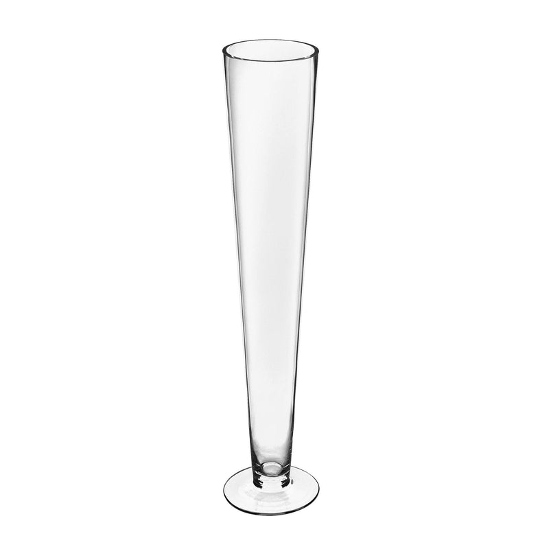 "Clear Glass Trumpet Vase D-4.5"" H-24"" - Pack of 12 PCS"