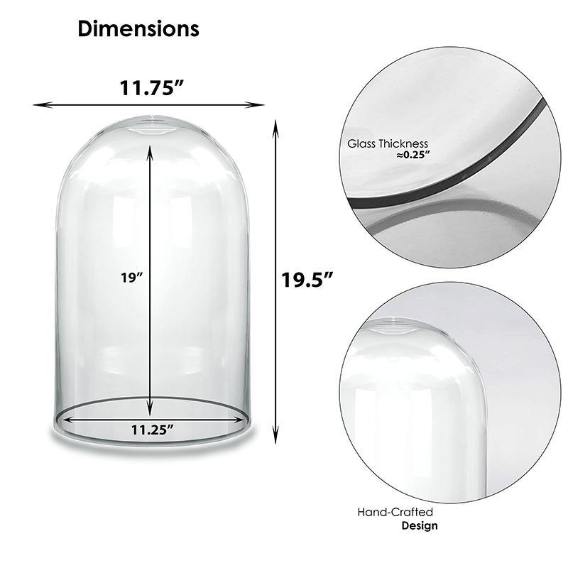"Clear Glass Cloche Dome D-19.5"" H-12"" - Pack of 1 PC"