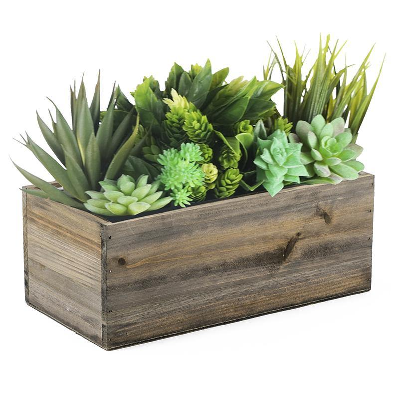 "Natural Wooden Plant Box with Plastic Liner O-10""X5"" H-4"" - Pack of 10 PCS"