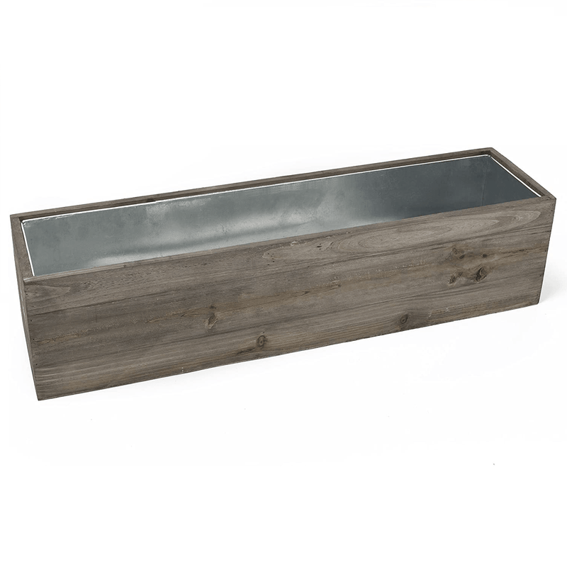 "Natural Wooden Rectangle Plant Box with Zinc Metal Liner O-4""X22"" H-4"" - Pack of 4 PCS"