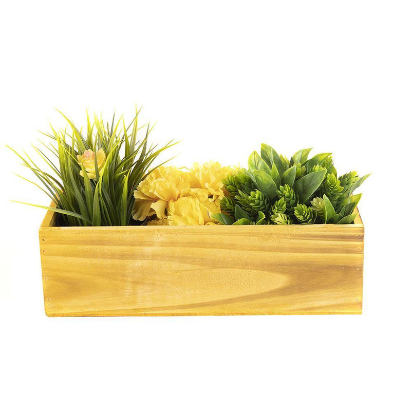 "Unfinished Wooden Plant Box with Plastic Liner O-13""X5"" H-4"" - Pack of 12 PCS"