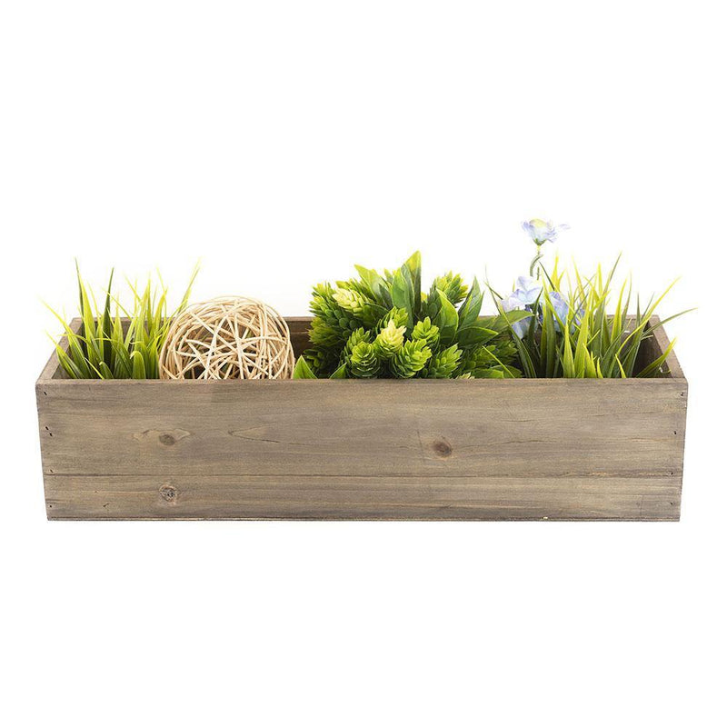 "Natural Wooden Plant Box with Plastic Liner O-17""X5"" H-4"" - Pack of 12 PCS"