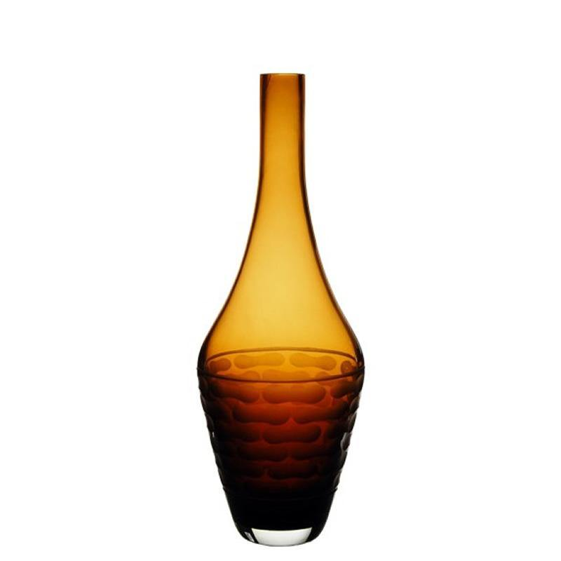 "Amber Glass Teardrop Style 4 Vase H-14"" - Pack of 6 PCS"