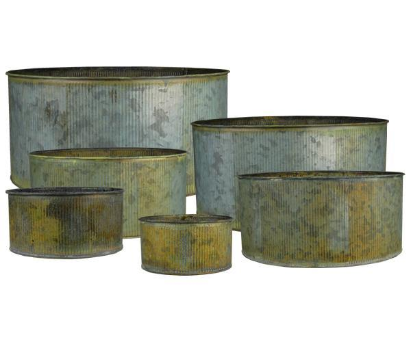 Rustic Steel Zinc Metal Wide Cylinder Planter Vases Set of 6 - Pack of 12 SETS