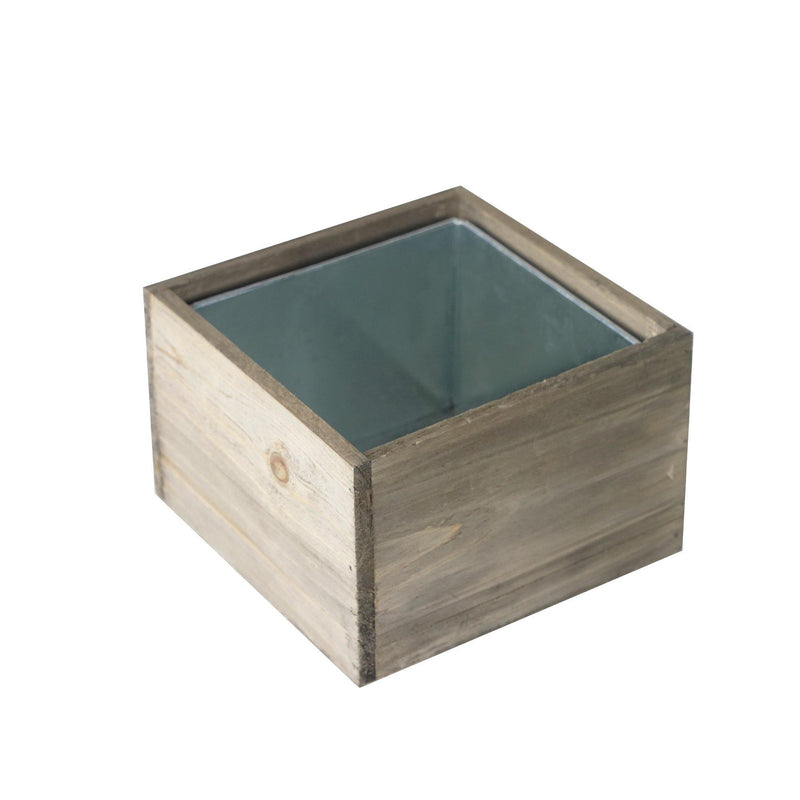 "Natural Wooden Square Plant Box with Zinc Metal Liner O-6"" H-4"" - Pack of 12 PCS"