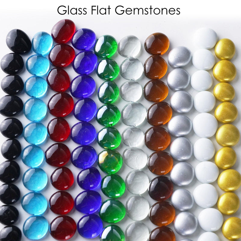 "White Glass Vase Filler Flat Gem Stone D-0.6"" - Pack of 44 LBS"