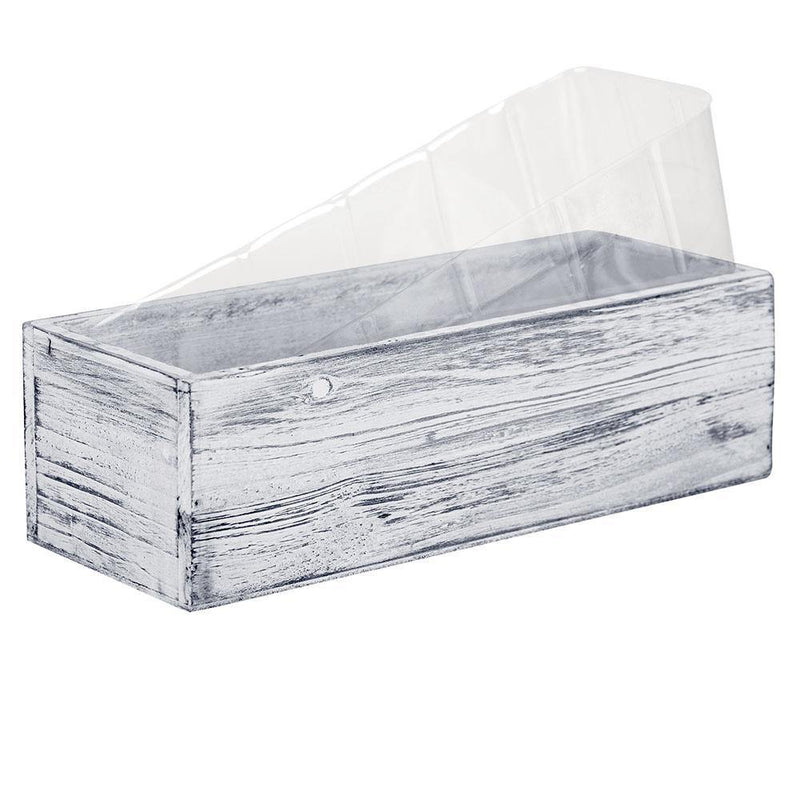 "White Wooden Plant Box with Plastic Liner O-13""X5"" H-4"" - Pack of 12 PCS"