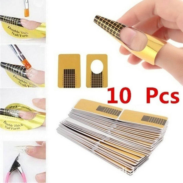 10 Pcs lot Nail Art Guide Form Sticker Acrylic Uv Gel Tip Extension Nail Tool Golden Nail Paper Hoder
