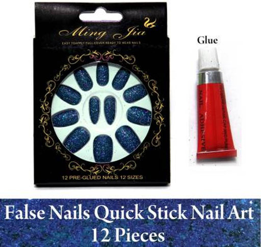 Blue False And Fake Nail Easy Quick Nail Art With Glue Royal Blue  (Pack of 12)