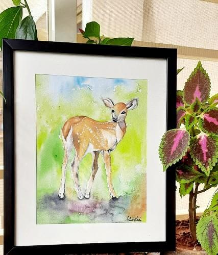 Painting - Deer Watercolor Frame