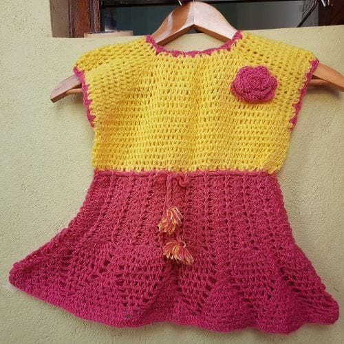 Yellow & pink handmade wool frock