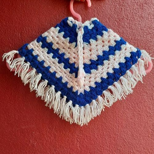 Blue and pink handmade wool poncho