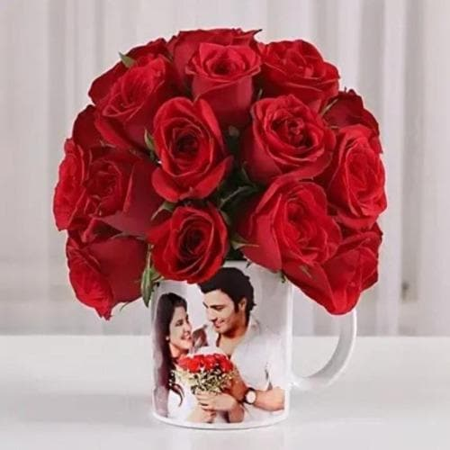 Personalized Mug with Roses - For Someone Special
