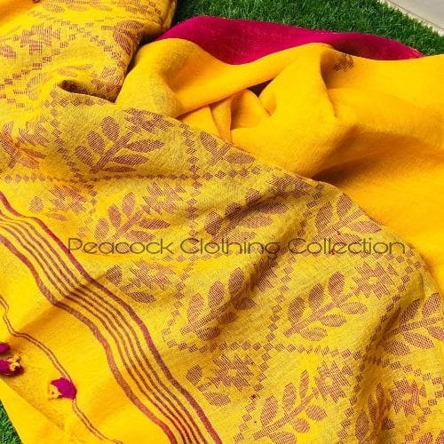 Pure Handloom Linen By Linen Jamdani Saree