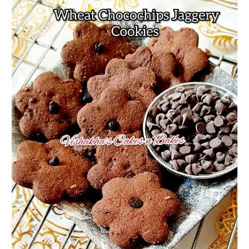 Wheat Jaggery Choco Chips Cookies