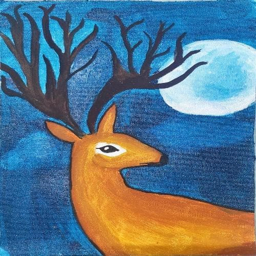 Painting - Deer on Canvas Cloth
