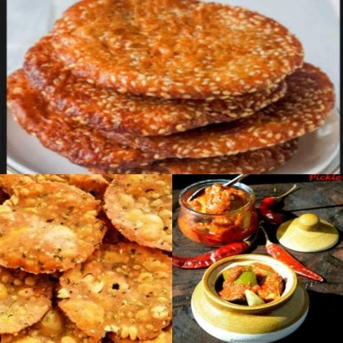 Ariselu Sweet, Pappu Chekkalu (Dal & Rice batter Crackers) Spicy with mango pickle