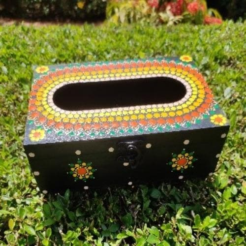 Hand Painted Wooden Tissue Box