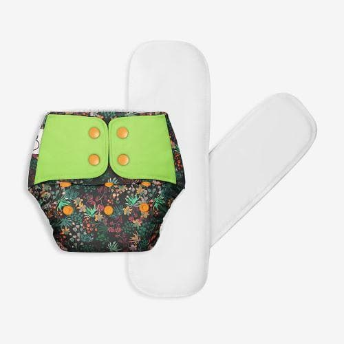 Washable & reusable cloth diaper + 2 organic cotton Dry Feel Pads Set [Day & Night Use]