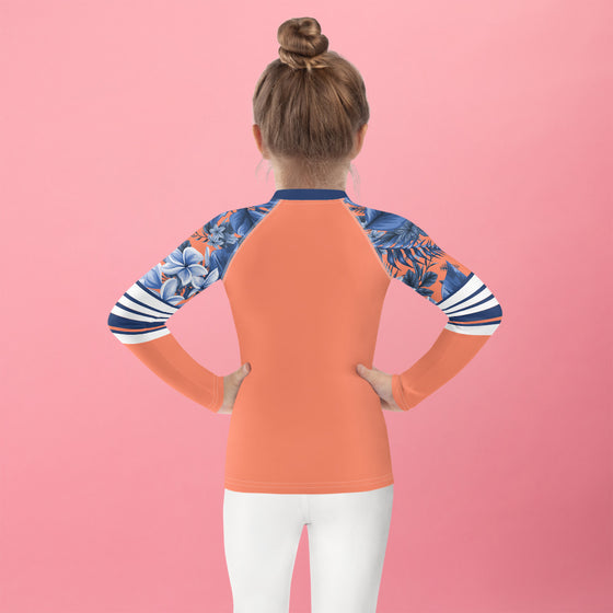 Girls Coral Navy Floral Rash Guard SPF 40