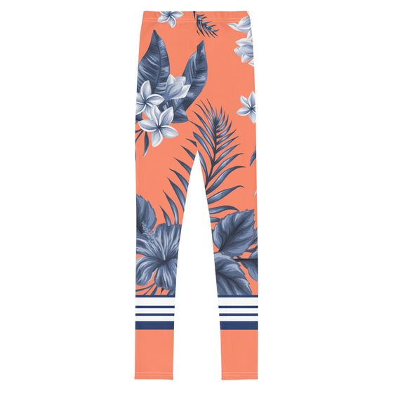 Tween Coral Navy Blue Floral SUP Swim Leggings, SPF 40