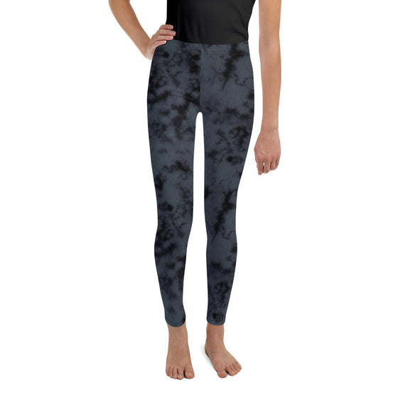Girls Tween Black Marble Dye Leggings