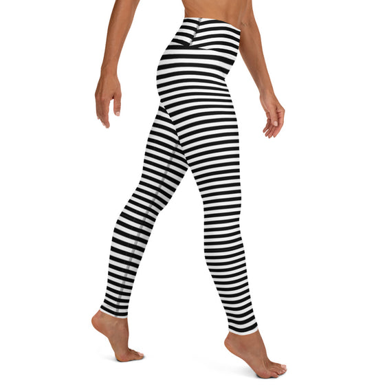 Black and White Stripe Yoga Leggings