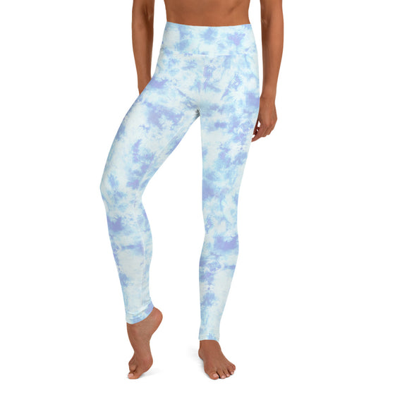 High Waist Cloud Dye Yoga Pants - Sky Blue