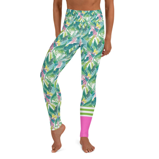 Women's Swim Surf Leggings 40 UPF Hawaiian Tropical Leaf