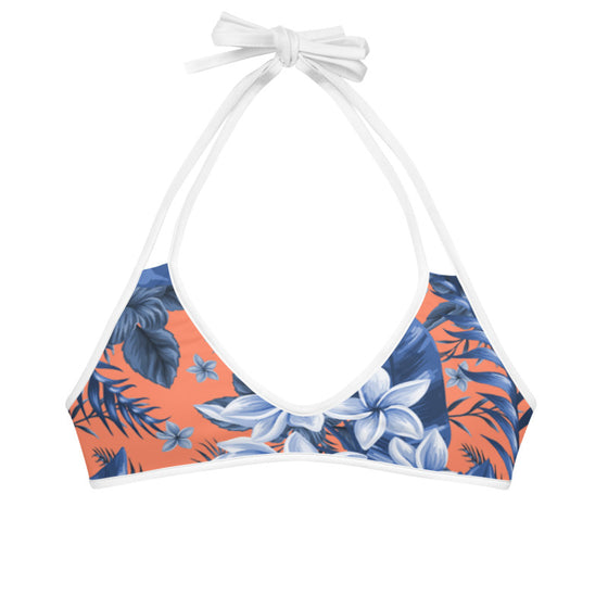 Coral Blue Floral Swimsuit Top