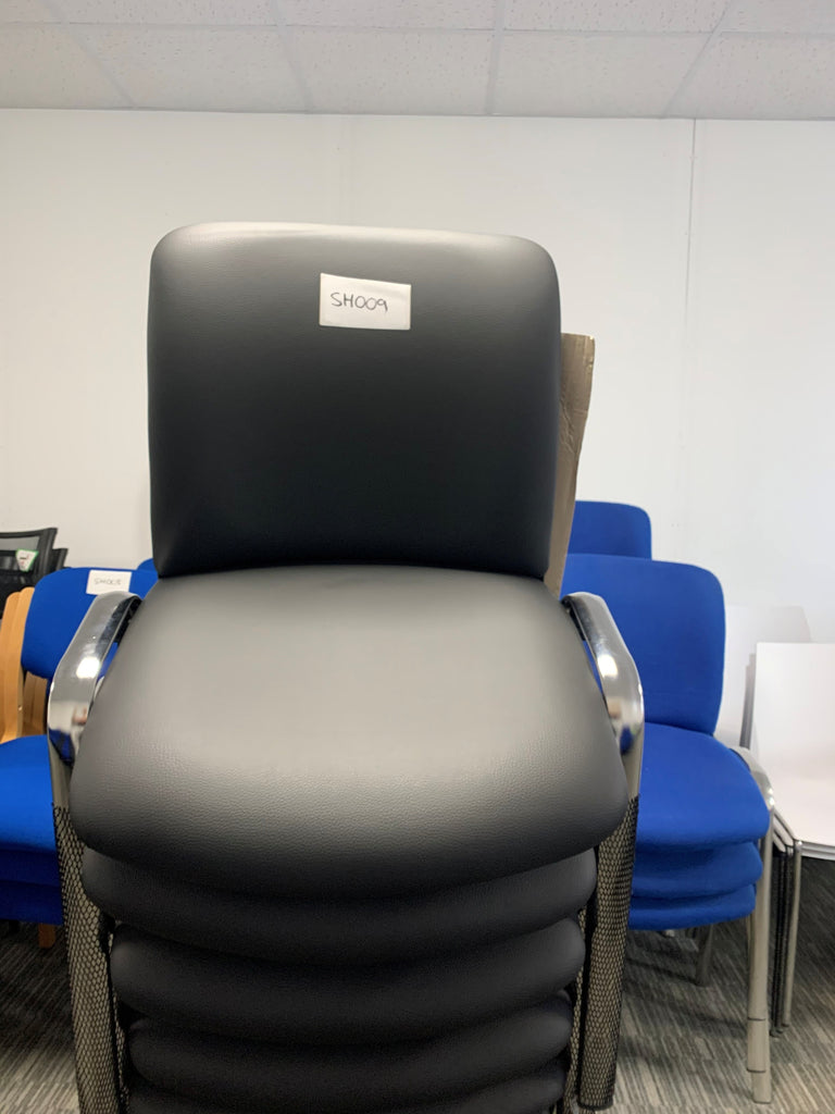 Black pu full back club chair