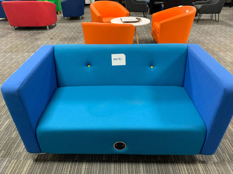 Blue 2 seater sofa with sockets