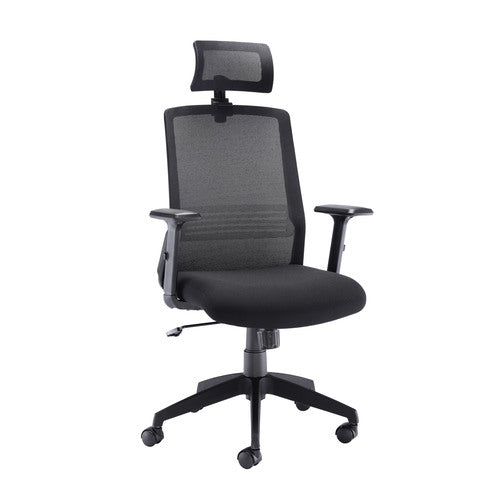 Denali High Back Chair with Headrest - Black Mesh - Clearance Office Furniture