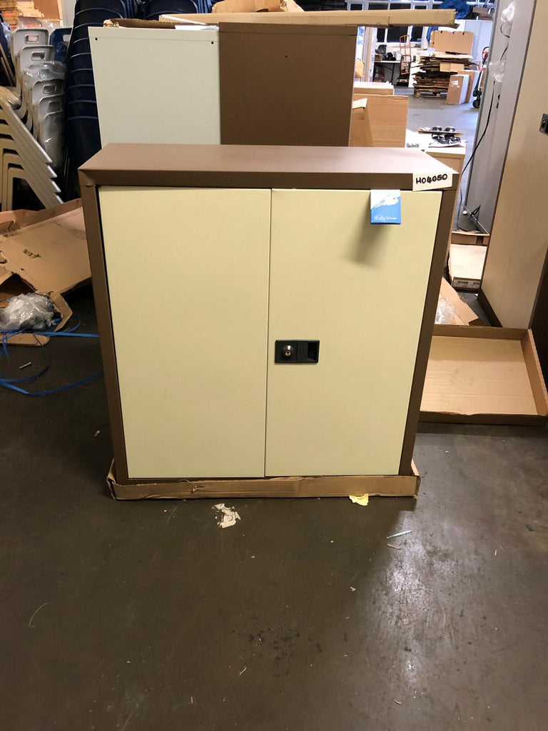 Coffee and cream double door cupboard 1000mm - Clearance Office Furniture