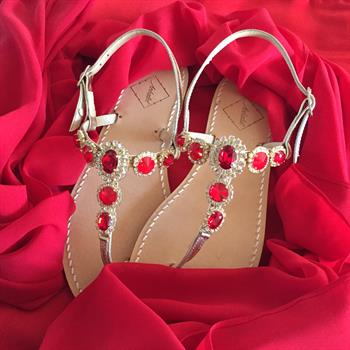 Ankalia Red Swarovksi Crystal Sandals