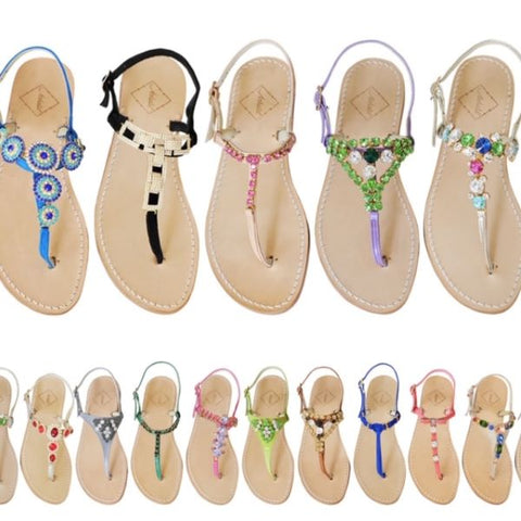These are the Sandals I handcraft. I try to line-up my Sandals below the outfits I wear them with. Again,I colour code them.