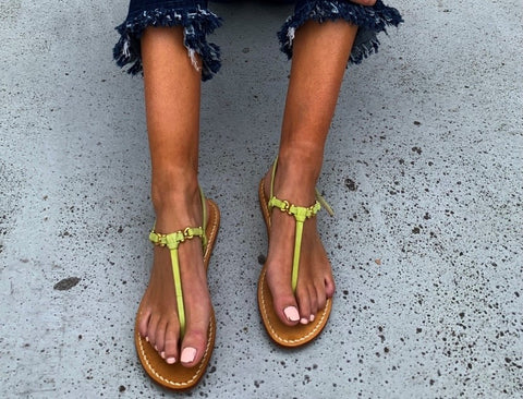 Ankalia Green suede flat sandals
