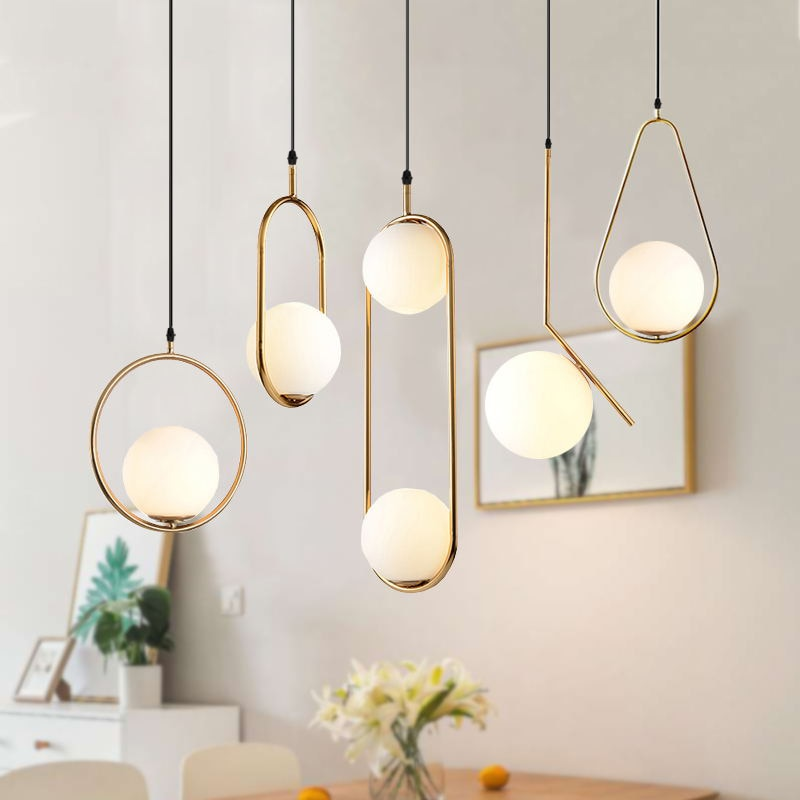 Nordic Glass Ball Pendant Lights Vintage Hoop LED Hanging Lamp for Living Room