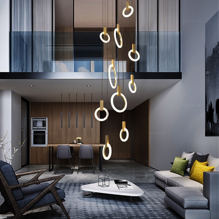 Modern LED Chandelier Ceiling Living Room Wooden Lighting Acrylic Ring  Pendant Lamps