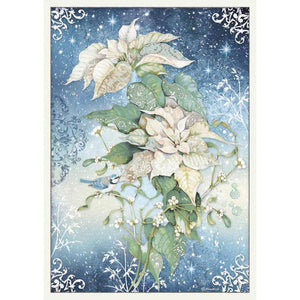 DFSA3070 Rice Paper A3 Poinsettia White