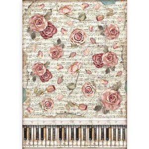 DFSA3086 Rice Paper A3 Passion Roses and Piano