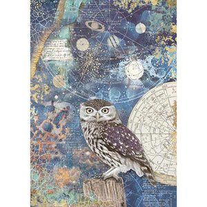 DFSA4389 Rice Paper A4 Cosmos Owl