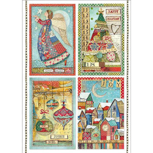DFSA4408 Rice Paper A4 Patchwork Postcards