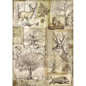 DFSA4426 Rice Paper A4 Forest Deer and Wild Boar