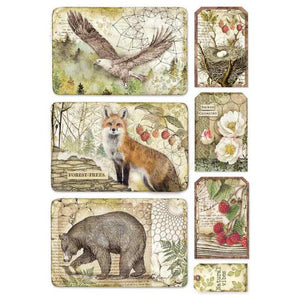 DFSA4427 Rice Paper A4 Forest Framed Eagle, Bear, Fox