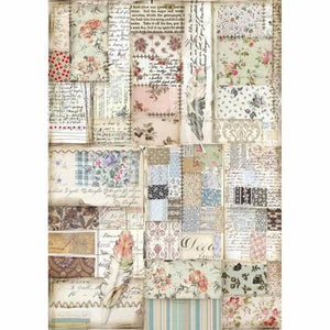 DFSA4439 Rice Paper A4 Patchwork Feather